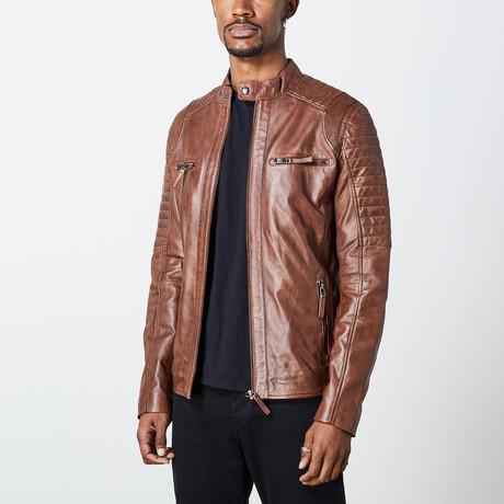 Nathanael Leather Jacket // Dark Tan (S)
