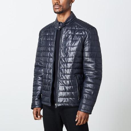 Marcus Leather Jacket // Navy (S)