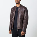 Chance Leather Jacket // Brown (4XL)