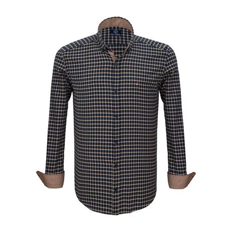 Jerry Dress Shirt // Navy + Mustard (S)