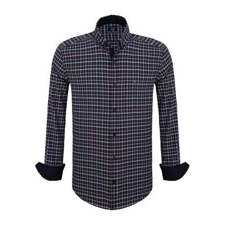 Casper Dress Shirt // Navy + Bordeaux (S)