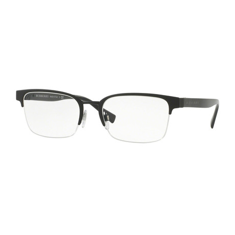 Burberry // Men's Half Rimless Optical Frames // Black Rubber