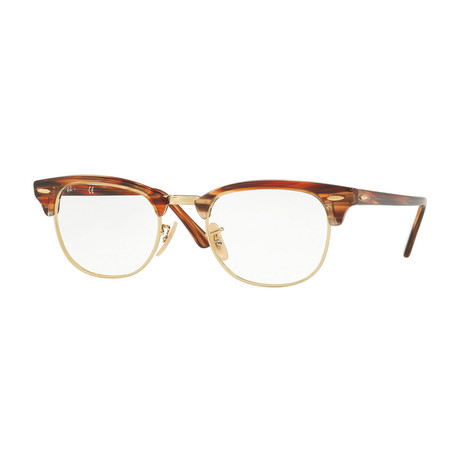 Men's 0RX5154 Clubmaster Optical Frames // Brown Horn + Gold