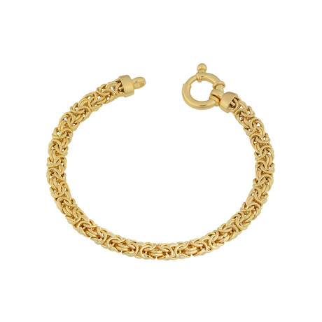 18K Yellow Gold Plated Sterling Silver Byzantine Bracelet
