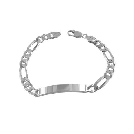 Sterling Silver Figaro ID Bracelet // 8mm