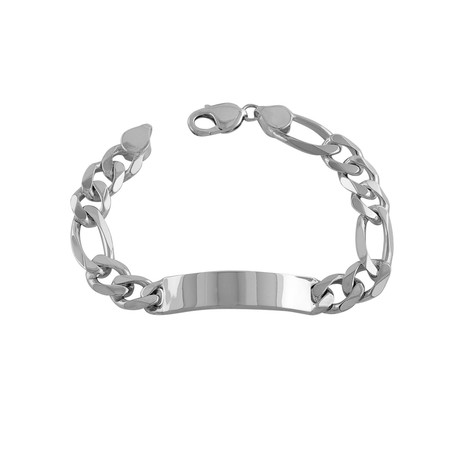 Sterling Silver Figaro ID Bracelet // 11mm