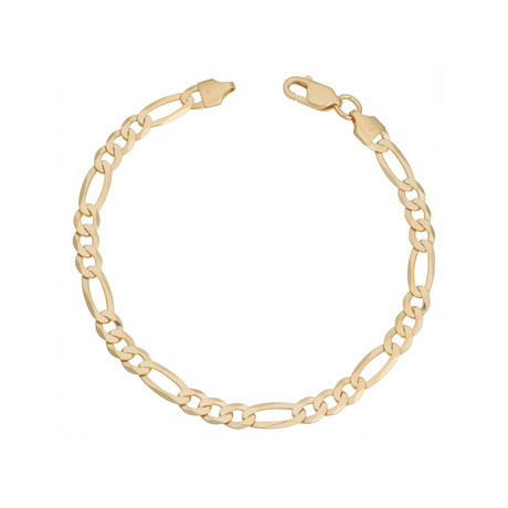18K Yellow Gold Plated Sterling Silver Figaro Bracelet