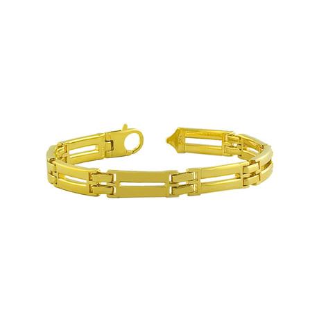 18K Yellow Gold Plated Sterling Silver Fancy Link Bracelet