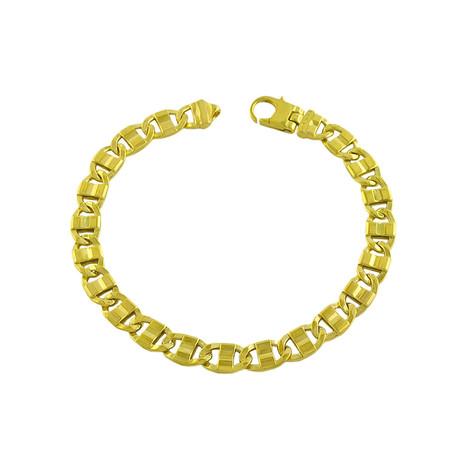 18K Yellow Gold Plated Sterling Silver Fancy Link Bracelet // 8.5mm