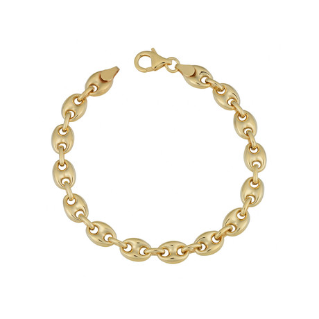 18K Yellow Gold Plated Sterling Silver Puffed Mariner Bracelet