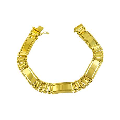 18K Yellow Gold Plated Sterling Silver Fancy Link Bracelet // 10mm