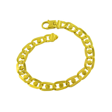 18K Yellow Gold Plated Sterling Silver Round Fancy Link Bracelet // 10mm