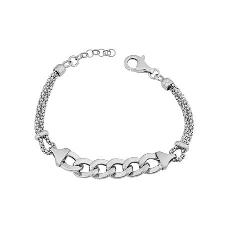 Sterling Silver Fancy Curb Adjustable Bracelet