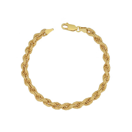 18K Yellow Gold Plated Sterling Silver Satin Rope Bracelet