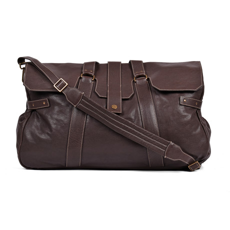 Weekender Aged Leather Bag // Dark Brown