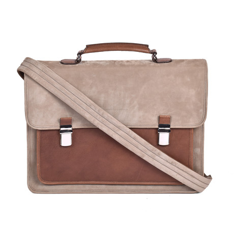 Two-Tone Briefcase // Beige + Brown