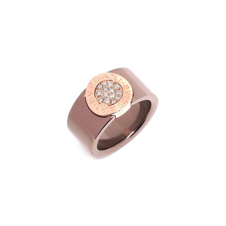 Bulgari Bulgari Bronze + 18k Rose Gold Diamond Signet Ring (Ring Size: 5.5)
