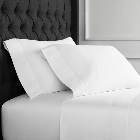 Christopher Knight Collection T1000 Thread Count Hemstitch Sheet Set + Pillowcases // White (Full)