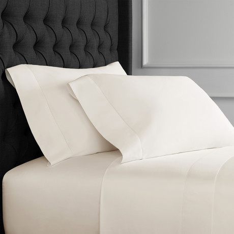 Christopher Knight Collection T1000 Thread Count Hemstitch Sheet Set + Pillowcases // Ivory (Full)