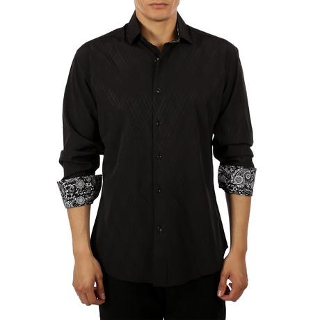 Aaron Long-Sleeve Button-Up Shirt // Black (S)