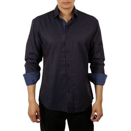 Nathaniel Long-Sleeve Button-Up Shirt // Black (XS)