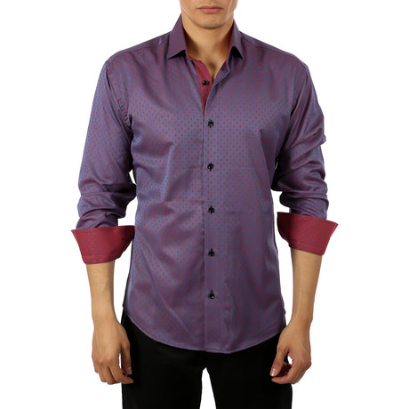 Nathaniel Long-Sleeve Button-Up Shirt // Purple (S)