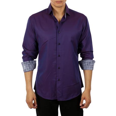 Matteo Long-Sleeve Button-Up Shirt // Purple (S)