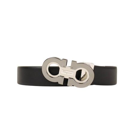Salvatore Ferragamo // Reversible Double 'Gancini' Buckle Belt // Black (38)