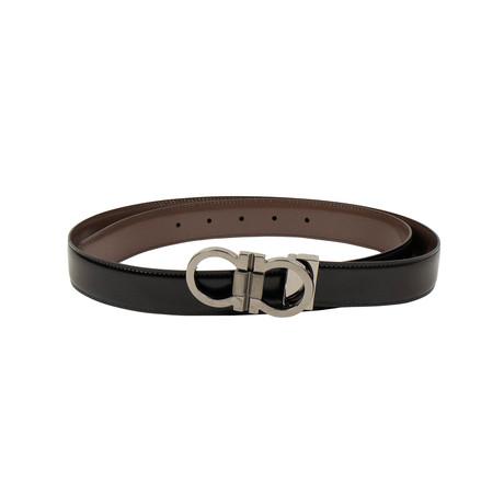 Salvatore Ferragamo // Leather 'Gancini' Belt // Brown + Black (40)