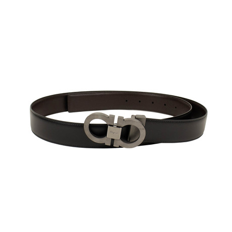 Salvatore Ferragamo // Reversible 'Gancini' Belt // Brown + Black (40)