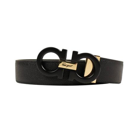 Salvatore Ferragamo // Reversible Leather 'Gancini' Buckle Belt // Black (38)