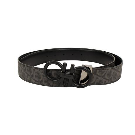 Salvatore Ferragamo // Oversized Single 'Gancini' Belt // Black (42)