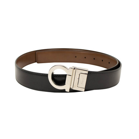 Salvatore Ferragamo // Gancini' Metal Buckle Belt // Brown + Black (42)