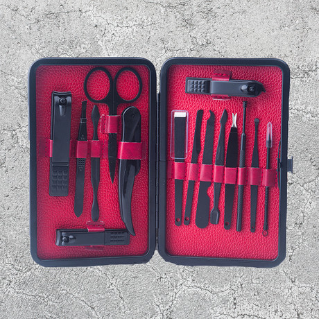 15-Piece Manicure + Pedicure Set // Black Chrome + Red