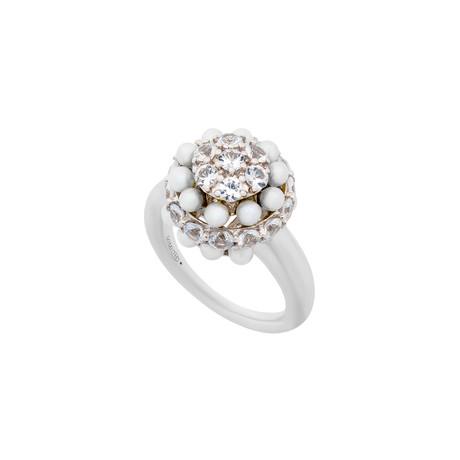 Mimi Milano 18k White Gold White Sapphire + White Cultured Pearl Ring // Ring Size: 6.5