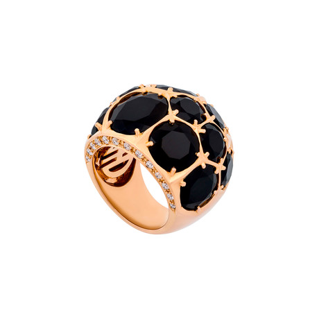 Mimi Milano 18k Rose Gold Diamond + Black Agate Ring // Ring Size: 7.5