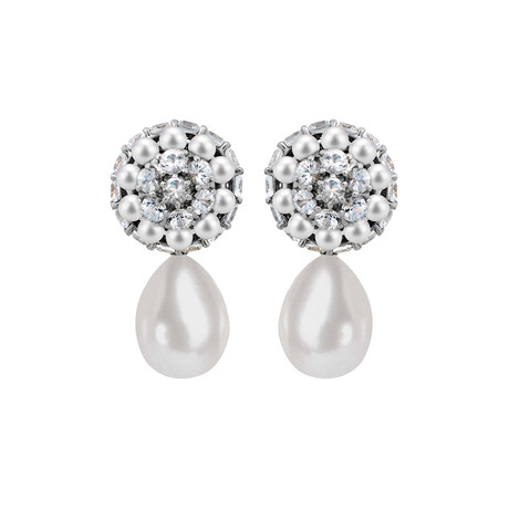 Mimi Milano 18k White Gold White Sapphire + White Cultured Pearl Earrings