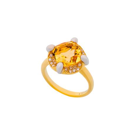 Mimi Milano 18k Two-Tone Gold Diamond + Citrine Ring // Ring Size: 7.5