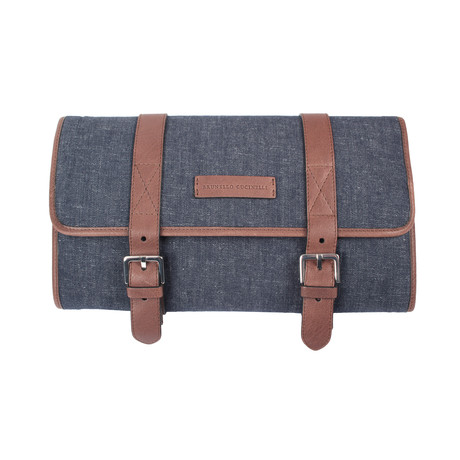 Brunello Cucinelli // Leather + Denim Two-Tone Travel Kit // Blue