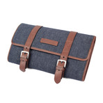 Leather + Denim Two-Tone Travel Kit // Blue