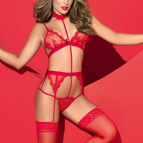 Olivia Teddy + Garters // Red (S-M)
