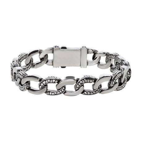 "Stainless Steel Link Bracelet // 11mm // Silver (7.5""L)"