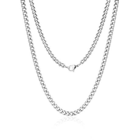Steel Cuban Link Necklace // Silver