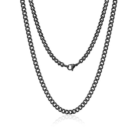 Steel Cuban Link Necklace // Black