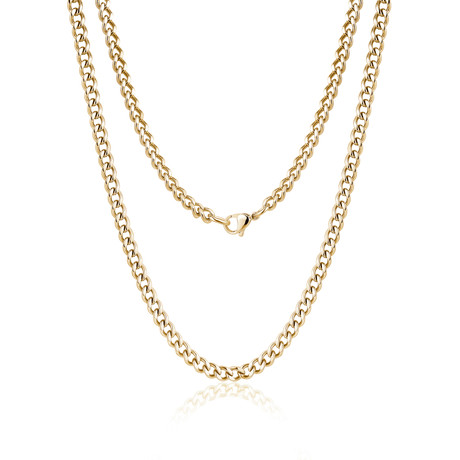 Steel Cuban Link Necklace // Gold