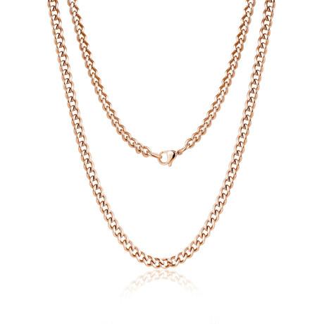 Steel Cuban Link Necklace // Rose Gold