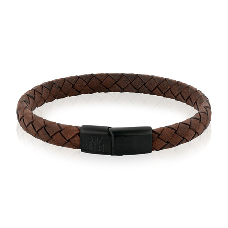 """Stainless Steel + Leather Bracelet // Brown (7.5""""L)"""