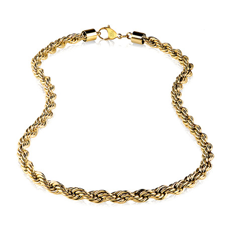 """Gold Steel Rope Chain // 8mm (24"""")"""