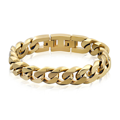 Steel Cuban Link Bracelet // 14mm // Gold Plated