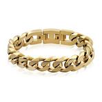 Steel Cuban Link Bracelet // 14mm // Gold Plated